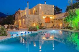 Magnificent natural stone hotel with swimming pool in countryside of Rethymno Crete